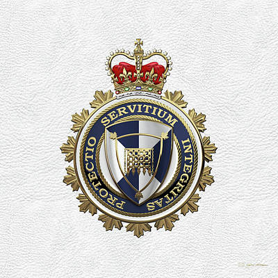 Digital Art - Canada Border Services Agency -  C. B. S. A. Badge Over White Leather by Serge Averbukh