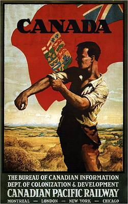 Mixed Media - Canada - Canadian Pacific Railway - Flag - Retro Travel Poster - Vintage Poster by Studio Grafiikka