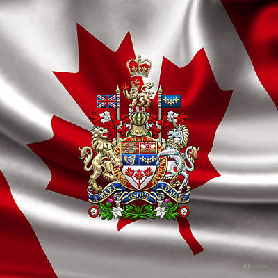 Digital Art - Canada Coat Of Arms Over Canadian Flag by Serge Averbukh