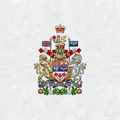 Digital Art - Canada Coat Of Arms Over White Leather by Serge Averbukh