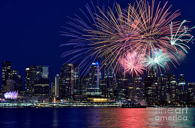 Photograph - Canada Day 2015 Vancouver Fireworks 1  by Terry Elniski