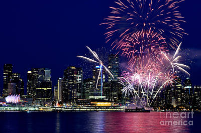 Photograph - Canada Day 2015 Vancouver Fireworks 2  by Terry Elniski