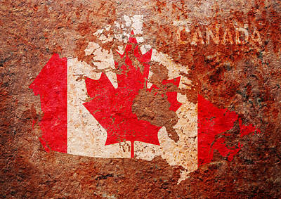 Canada Flag Map Art Print by Michael Tompsett
