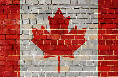 Digital Art - Canada Flag On A Brick Wall by Steve Ball