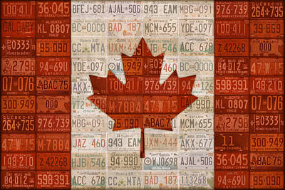 Province Mixed Media - Canada Flag Recycled Vintage License Plate Art by License Plate Art and Maps