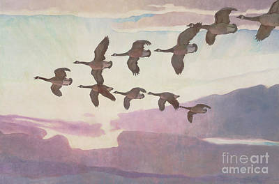 Canada Geese In Spring Art Print by Newell Convers Wyeth