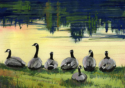 Painting - Canada Geese by Synnove Pettersen