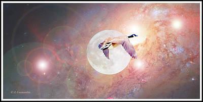 Digital Art - Canada Goose Flies Across The Full Moon by A Gurmankin