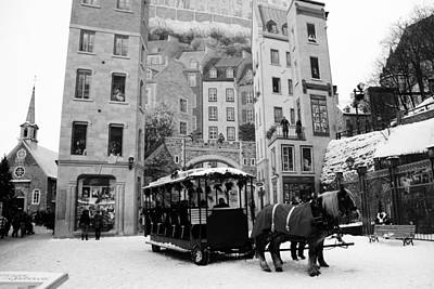 Photograph - Canada - Historic Old Quebec - B/w by Jacqueline M Lewis