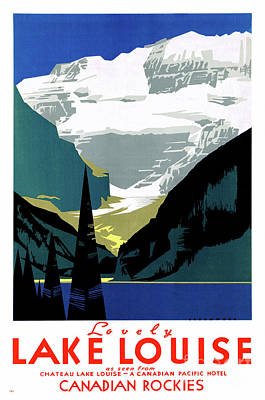 Mixed Media - Canada Lake Louise Vintage Poster Restored by Carsten Reisinger