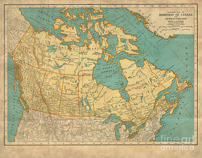 Newfoundland Digital Art - Canada Vintage Antique Country Map by ELITE IMAGE photography By Chad McDermott
