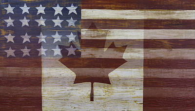 Maple Leaf Art Photograph - Canadian American Flag by Garry Gay