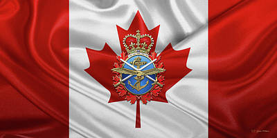 Digital Art - Canadian Armed Forces  -  C A F  Badge Over Canadian Flag by Serge Averbukh