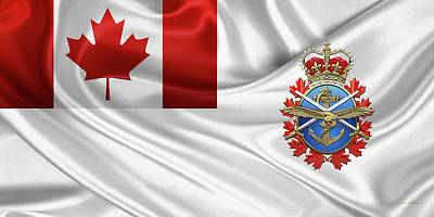 Digital Art - Canadian Armed Forces  -  C A F  Badge Over Flag by Serge Averbukh
