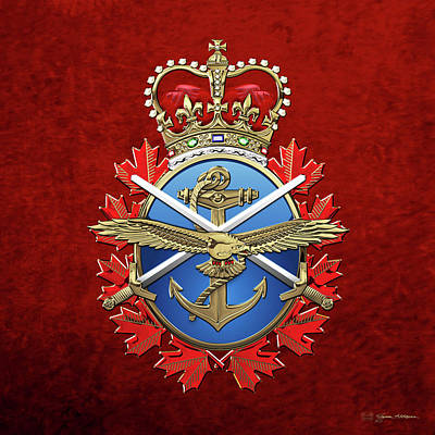 Digital Art - Canadian Armed Forces  -  C A F  Badge Over Red Velvet by Serge Averbukh