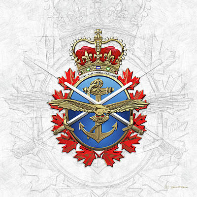 Digital Art - Canadian Armed Forces  -  C A F  Badge Over Sketch On White by Serge Averbukh