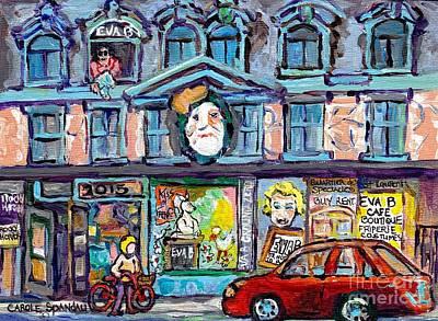 Painting - Canadian Art And Architecture Eva B Cafe Boutique Quartier Des Spectacles Montreal Scenes C Spandau  by Carole Spandau