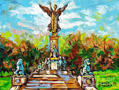 Painting - Canadian Art Montreal Monuments Angel Statue Mont Royal Park Autumn Scene Quebec Landscape C Spandau by Carole Spandau
