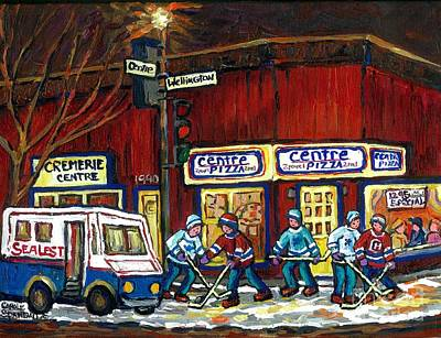 Street Hockey Painting - Canadian Art Pointe St Charles Paintings Night Hockey Game Centre Pizza Sealtest Delivery Truck  by Carole Spandau