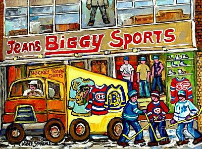 Street Hockey Painting - Canadian Art Street Hockey Painting Biggy Jeans Verdun Delivery Truck Winter Scene Carole Spandau    by Carole Spandau