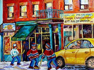 Painting - Canadian Art Street Scene Hockey Painting Montreal 375 Rue St Viateur Winter Scene Carole Spandau    by Carole Spandau