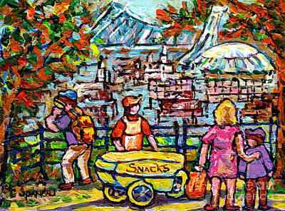 Painting - Canadian Autumn Landscape Painting Lookout Skyline Beaver Lake Mont Royal Chip Wagon C Spandau Art by Carole Spandau