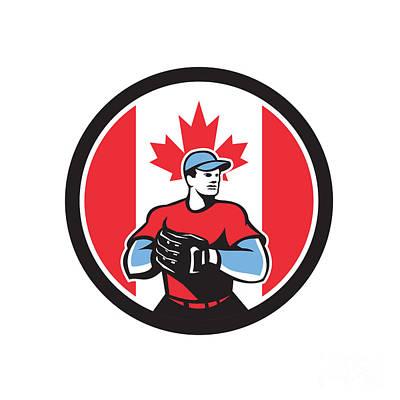 Digital Art - Canadian Baseball Pitcher Canada Flag Icon by Aloysius Patrimonio