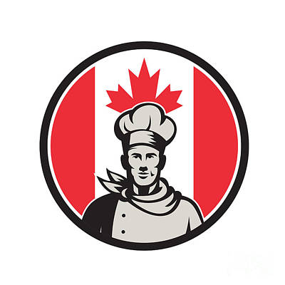 Beaches And Waves Rights Managed Images - Canadian Chef Baker Canada Flag Icon Royalty-Free Image by Aloysius Patrimonio