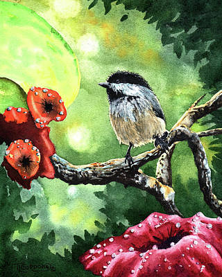 Dew Painting - Canadian Chickadee by Timithy L Gordon