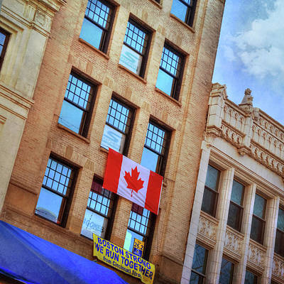 Photograph - Canadian Flag On Building - Boston Marathon by Joann Vitali