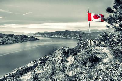Canadian Flag On Pincushion Mountain Art Print by Tara Turner