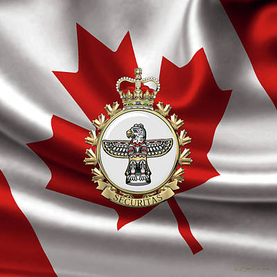 Digital Art - Canadian Forces Military Police  -  C F M P Branch Badge Over Canadian Flag by Serge Averbukh