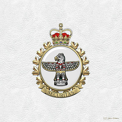Digital Art - Canadian Forces Military Police  -  C F M P Branch Badge Over White Leather by Serge Averbukh