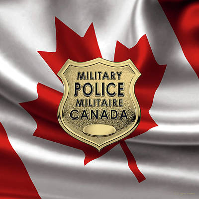 Photograph - Canadian Forces Military Police C F M P  -  M P Officer Id Badge Over Canadian Flag by Serge Averbukh