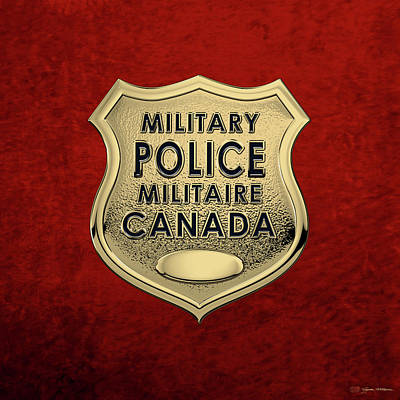 Digital Art - Canadian Forces Military Police C F M P  -  M P Officer Id Badge Over Red Velvet by Serge Averbukh