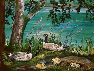 Canadian Geese At Nw Trek Art Print by JR Hawse