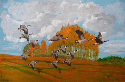 Canadian Geese Art Print by Richard Le Page