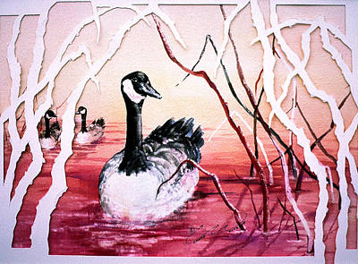 Painting - Canadian Geese Sunset by Connie Williams