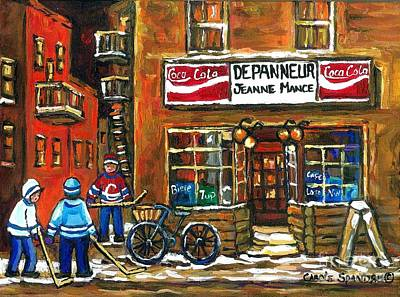 Montreal Streets Painting - Canadian Hockey Art Night Scene Coca Cola Depanneur Best Montreal Art Quebec Paintings For Sale by Carole Spandau
