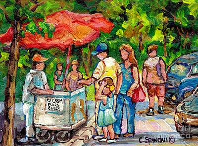 Painting - Canadian Landscape Painting Ice Cream Vendor Beaver Lake Mount Royal Canadian Park Scenes C Spandau  by Carole Spandau