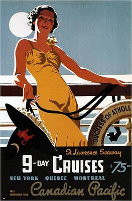 Mixed Media - Canadian Pacific - 9-day Cruises - Retro Travel Poster - Vintage Poster by Studio Grafiikka