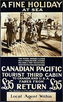 Mixed Media - Canadian Pacific - A Fine Holiday At Sea - Retro Travel Poster - Vintage Poster by Studio Grafiikka