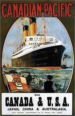 Mixed Media - Canadian Pacific - Canada, Usa, Japan, China And Australia - Retro Travel Poster - Vintage Poster by Studio Grafiikka