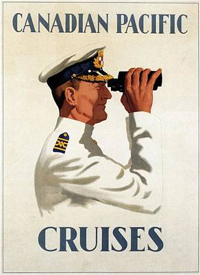 Mixed Media - Canadian Pacific - Cruises - Sailor With Binocular - Retro Travel Poster - Vintage Poster by Studio Grafiikka