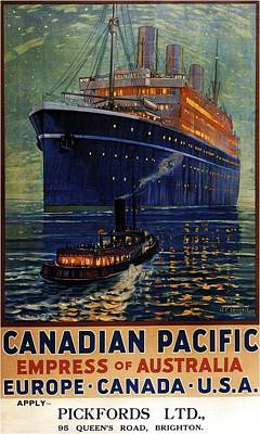 Mixed Media - Canadian Pacific - Empress Of Australis - Steamship - Retro Travel Poster - Vintage Poster by Studio Grafiikka