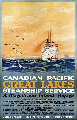 Mixed Media - Canadian Pacific - Great Lakes - Steamship Service - Retro Travel Poster - Vintage Poster by Studio Grafiikka