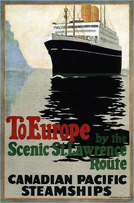 Royalty-Free and Rights-Managed Images - Canadian Pacific Steamships - To Europe by the St.Lawrence Route - Retro travel Poster - Vintage by Studio Grafiikka