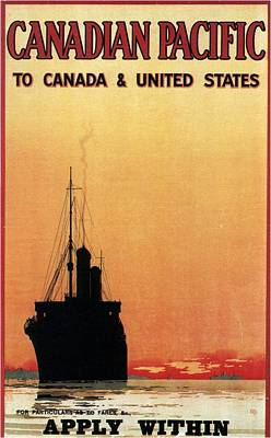 Royalty-Free and Rights-Managed Images - Canadian Pacific To Canada and United States - Retro travel Poster - Vintage Poster by Studio Grafiikka