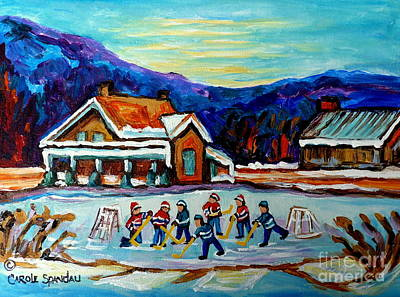Painting - Canadian Painting Pond Hockey Art Cozy Country Cabins Scenes Winter Landscape C Spandau Quebec Art   by Carole Spandau