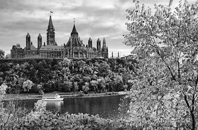 Photograph - Canadian Parliament Hill Black White by Charline Xia